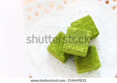 homemade green tea chocolate macha ganache - stock photo