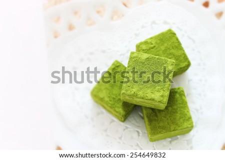 homemade green tea chocolate macha ganache - stock photo