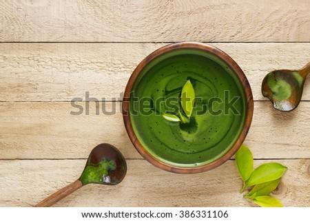 homemade green tea, refreshing for health on white background - stock photo