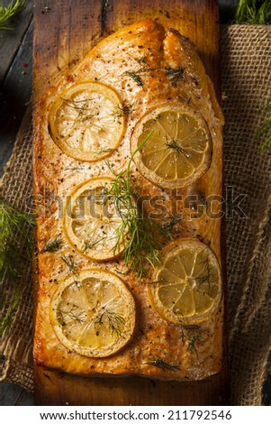 Homemade Grilled Salmon on a Cedar Plank with Dill