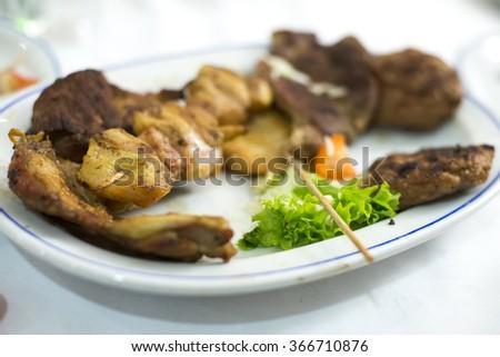 Homemade Grilled Steak on ceramics plate  - stock photo