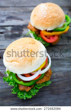Homemade hamburger with chicken, tomato and onion - stock photo