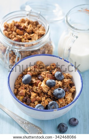 homemade healthy granola with blueberry for breakfast - stock photo