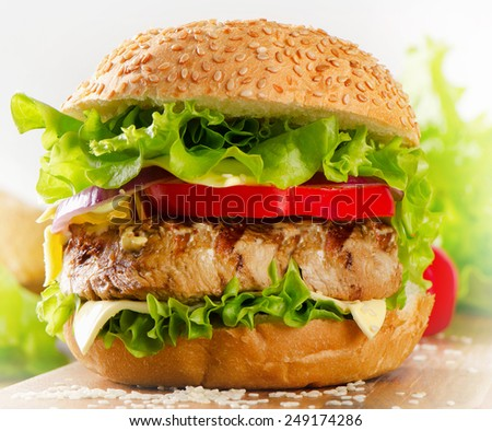 Homemade healthy hamburger with beef and  vegetables. Selective focus - stock photo