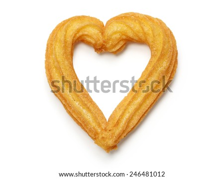 homemade heart shape churro isolated on white background - stock photo