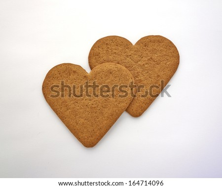 homemade heart shaped cookies  - stock photo