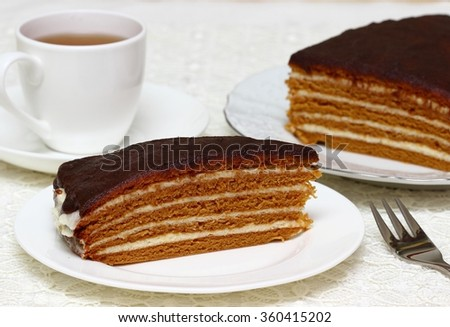 homemade honey cake - stock photo