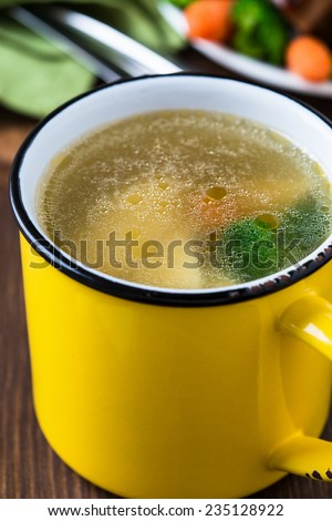 Homemade hot chicken soup in yellow mug for winter