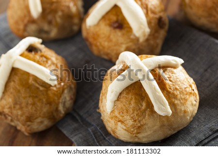 Homemade Hot Cross Buns with Cranberries for Easter - stock photo