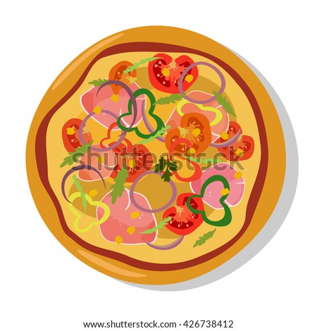 Homemade hot pizza icons. Pizza isolated on white, pepperoni pizza. Graphic illustration