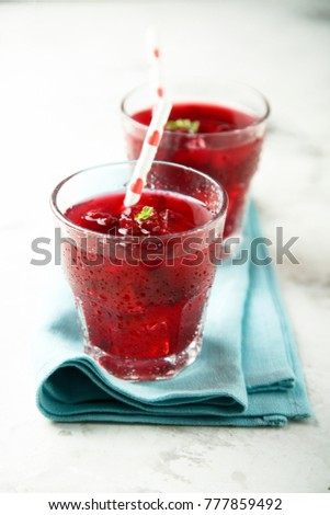 Homemade iced berry drink