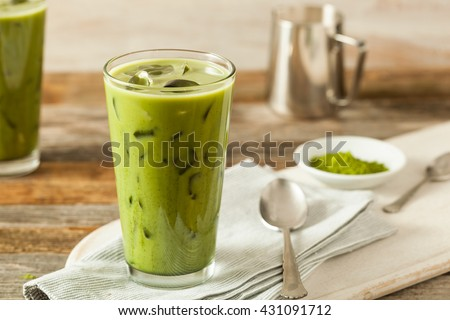 Homemade Iced Matcha Latte Tea with Milk - stock photo