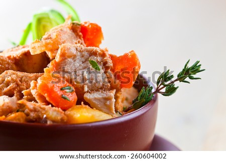Homemade Irish Beef Stew with Carrots and Potatoes - stock photo