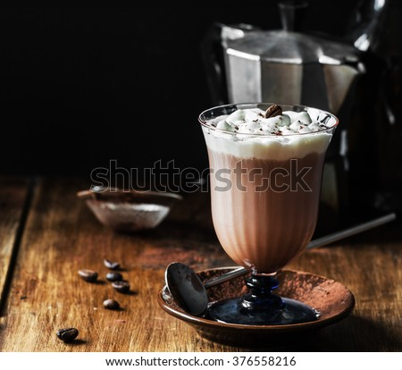 Homemade Irish Coffee. Selective focus. - stock photo