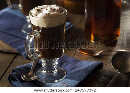 Homemade Irish Coffee with Whiskey and Whipped Cream - stock photo