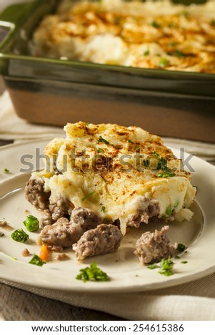 Homemade Irish Shepherd's Pie with Lamb and Potatoes - stock photo