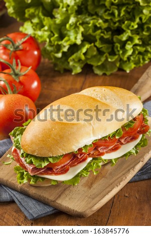 Homemade Italian Sub Sandwich with Salami, Tomato, and Lettuce - stock photo