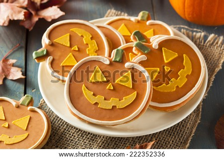 Homemade Jack O'lantern Pumpkin Cookie for Halloween - stock photo