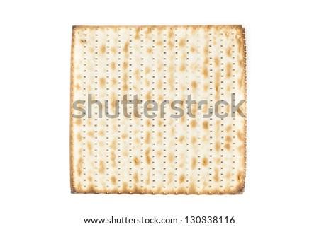 Homemade Kosher Matzo Crackers made with flour and water - stock photo