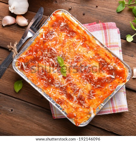 Homemade lasagne bolognese - stock photo