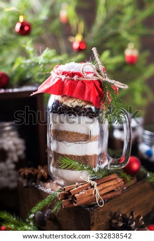 Homemade layered mixture for making delicious brownies - stock photo