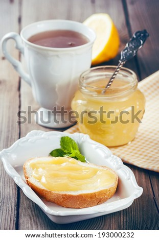 Homemade Lemon Curd on the toast and Cup of Tea