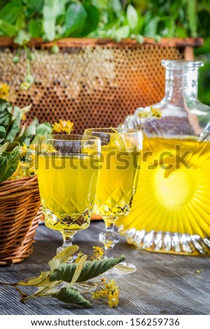 Homemade liqueur made �¢??�¢??of honey and lime in garden - stock photo