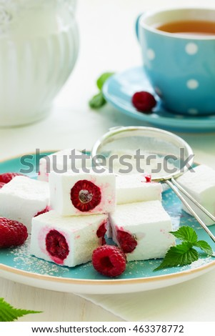 Homemade marshmallows with raspberry. Selective focus.