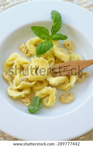 Homemade Meat Cappelletti with Mustard Sauce and Basil in White Plate with Wooden Fork closeup on Wicker background