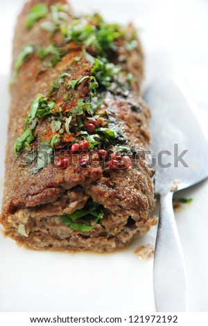 homemade meat loaf with herbs - stock photo