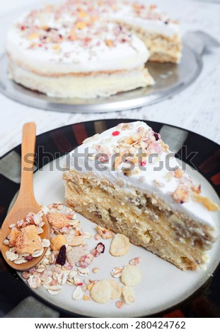 Homemade muesli cake - stock photo