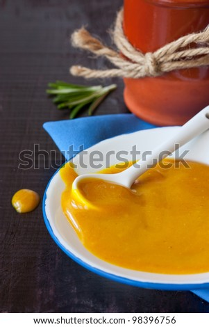 Homemade mustard honey sauce on a white plate. - stock photo