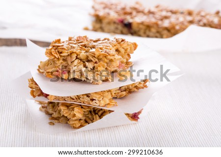 Homemade Oat bars with honey and currant. - stock photo