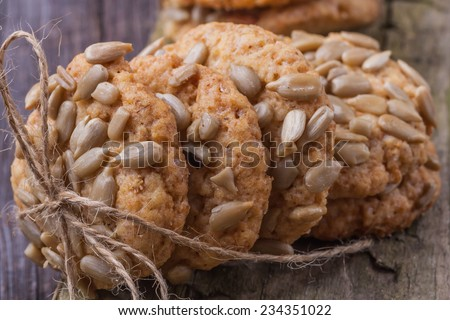 homemade oat cookies with sunflower seeds - stock photo