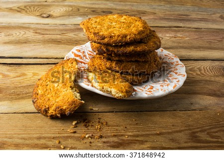 Homemade oatmeal cookies on a rustic wooden table. Cookies. Pastry. Biscuits. Homemade cookies   - stock photo