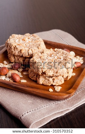 homemade oatmeal cookies, vertical, close-up - stock photo