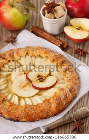 Homemade open apple pie with spices.