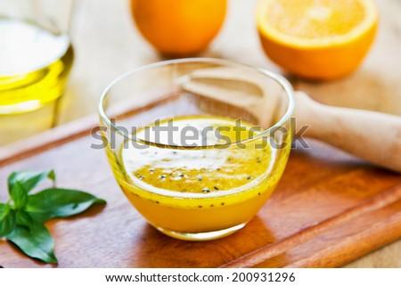 Homemade Orange with Black sesame vinaigrette - stock photo
