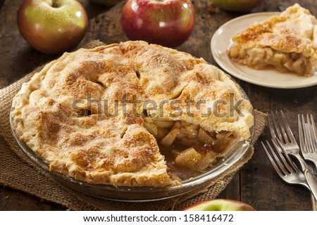 Homemade Organic Apple Pie Dessert Ready to Eat - stock photo