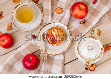 Homemade Organic Apple Pie Dessert Ready to Eat. Tea with dessert. - stock photo