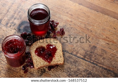 Homemade Organic Jam and Whole Grain Bread - stock photo