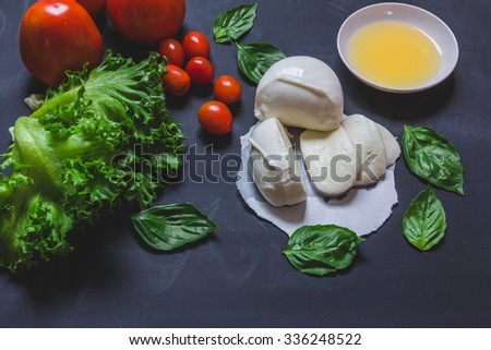 Homemade Organic Mozzarella Cheese with Tomato and Basil, on black background - stock photo
