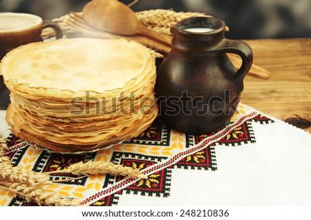 Homemade pancake. - stock photo