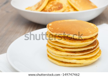 Homemade Pancakes on Plate - Shallow Depth of Field  - stock photo