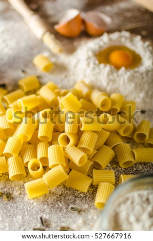 Homemade pasta bio, styled, ready for your advertisment, text free, rustic styled photo