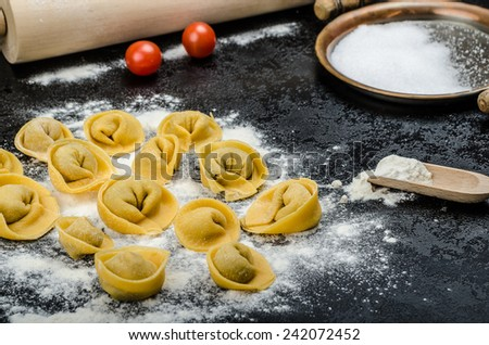 homemade pasta tortellini stuffed mushrooms, garlic and cheese, from real semolina flour from Italy - stock photo