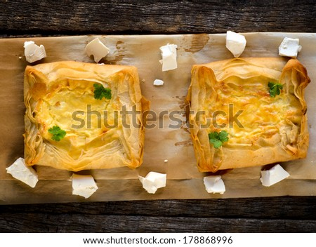 Homemade pastry stuffed with cheese,from above  - stock photo