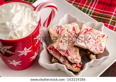 Homemade peppermint bark candy with hot chocolate with whipped cream for Santa - stock photo