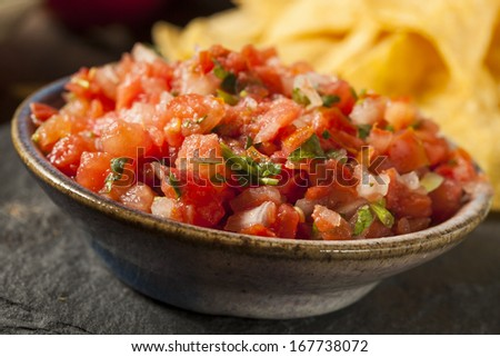 Homemade Pico De Gallo Salsa and Chips Ready to Eat - stock photo