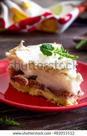 Homemade pie with figs and meringue